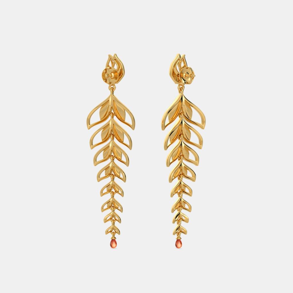 Long Drop Gold Earrings Freshwater Drop Earrings With Long