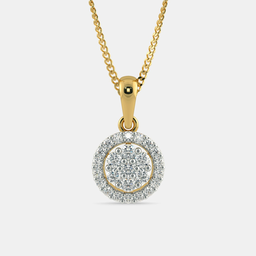 diamond pendant rubover cut gold set over white aurora rub brilliant