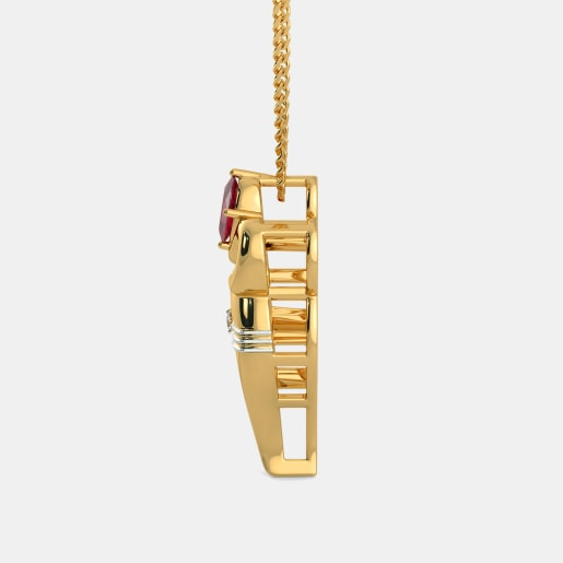 Diamond And Ruby Pendant In Yellow Gold (3.08 Gram) With Diamonds (0.015 Ct)