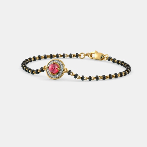Diamond And Ruby Bracelet In Yellow Gold (2.8 Gram) With Diamonds (0.120 Ct)