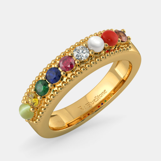 Navaratna And Diamond Ring In Yellow Gold (5.298 Gram) With Diamonds (0.069 Ct)