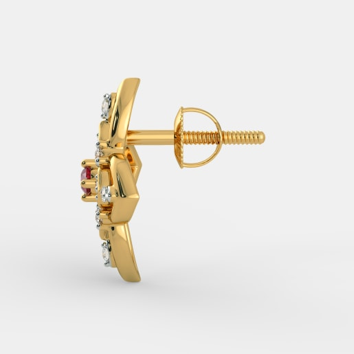 Diamond And Ruby Earring In Yellow Gold (2.92 Gram) With Diamonds (0.160 Ct)
