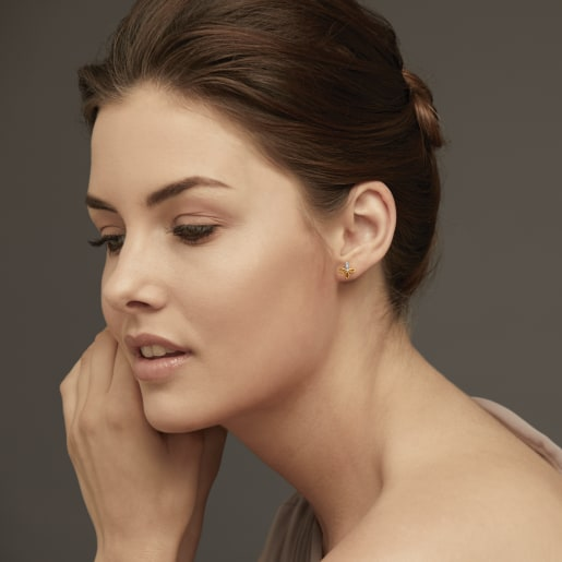 Diamond Earring In Yellow Gold (2 Gram) With Diamonds (0.056 Ct)