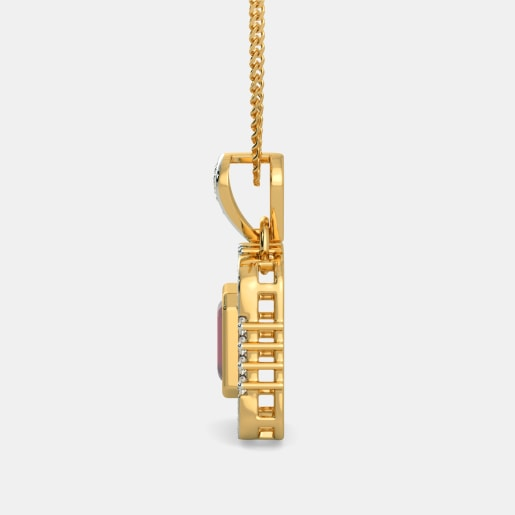 Ruby And Diamond Pendant In Yellow Gold (2.98 Gram) With Diamonds (0.746 Ct)