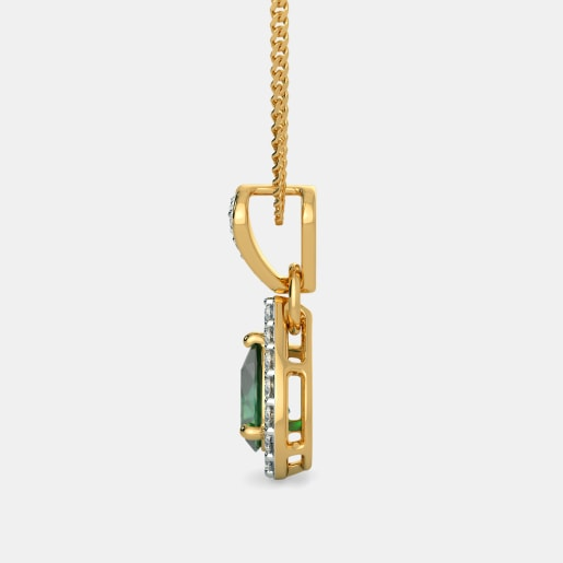 Emerald And Diamond Pendant In Yellow Gold (1.32 Gram) With Diamonds (0.282 Ct)