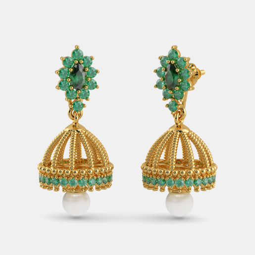 Buy Gold Jhumka Earring Designs line in India 2018