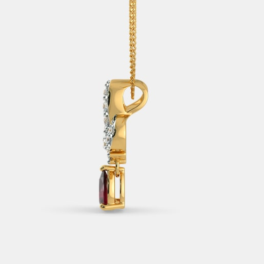 Diamond And Ruby Pendant In Yellow Gold (2.42 Gram) With Diamonds (0.320 Ct)