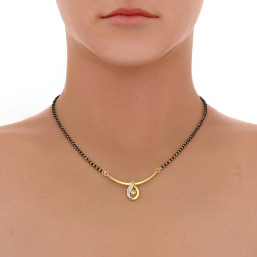 Diamond Mangalsutra In Yellow Gold (1.87 Gram) With Diamonds (0.095 Ct)
