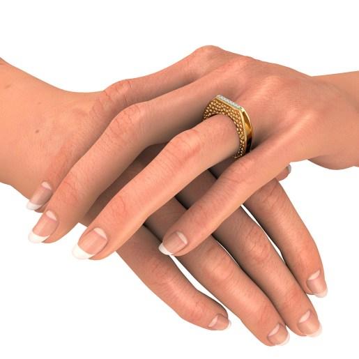 Diamond Ring In Yellow Gold (7.15 Gram) With Diamonds (0.056 Ct)