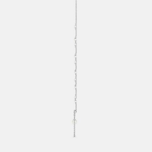 Diamond And White Pearl Necklace In White Gold (9.62 Gram)